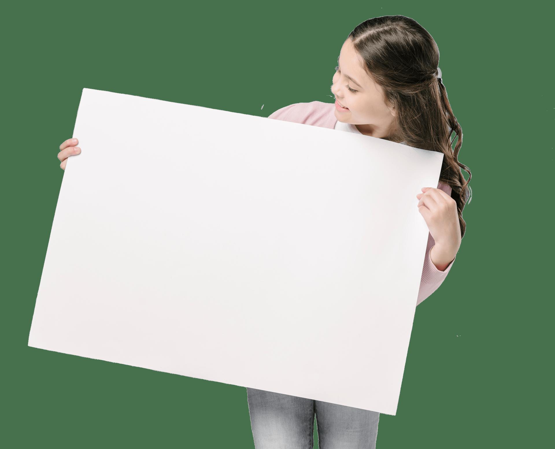 Mädchen mit Plakat